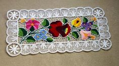 Kalocsa lace (Richelieu) doily with authentic Hungarian embroidery patterns - LACE-KAL-DOI-TR-171