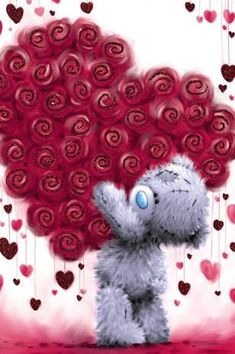 by Florynda del Sol ღ☀¨✿ ¸.ღ ♡♥♡Happy Valentine's day! Teddy Bear Quotes, Teddy Bear Images, Teddy Bear Pictures, Tatty Teddy, Cute Couple Gifts, Blue Nose Friends, Bear Graphic, Bear Wallpaper, Love Bear