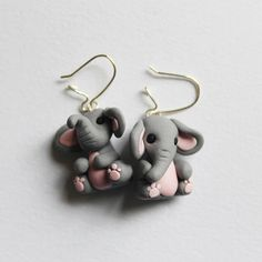 Cute grey dangle elephant earrings, handsculpted polymer clay, perfect gift for her, nickel free earrings, mismatched earrings