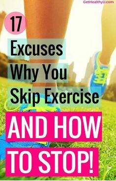 17 Excuses Why You Skip Exercise - Get Healthy U - I am giving you my top solutions to get after that workout and stop making excuses to skip exercise! Get motivated an let's do this together! Get Healthy, Healthy Life, Healthy Living, Healthy Habits, Health And Wellness, Health Fitness, Lose Weight, Weight Loss, Look Here