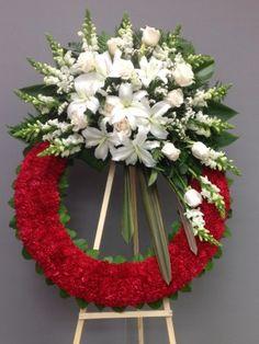 Funeral Spray Flowers, Flower Wreath Funeral, Funeral Sprays, Funeral Floral Arrangements, Church Flower Arrangements, Angel Wings Decor, Casket Sprays, Flower Boutique, Sympathy Flowers