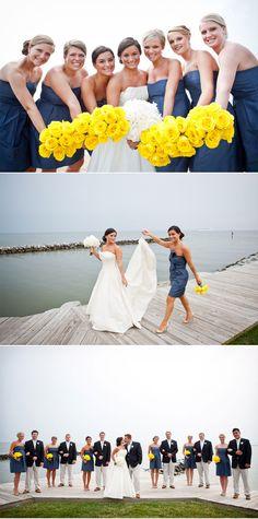 Gorgeous bright yellow rose bouquets #navy #uniform #vibrant #summer