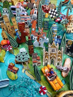 Sara Drake - Tuscany and Umbria detail from a large 3D illustrated map of Italy - papier mache, acrylic paint, balsa wood and mixed media. 2014