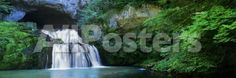 Waterfall in a Forest, Lison River, Jura, France Landscapes Wall Decal - 183 x 61 cm