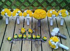 Yellow Rose Bouquet 17 Piece Wedding Package by SilkFlowersByJean
