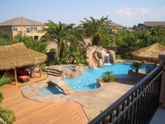 boasting a #pool and #spa with Bridge, slide and #waterfall