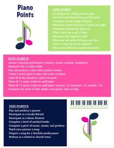 Piano Points - a motiving incentive program for piano students  FunPianoTeaching.com