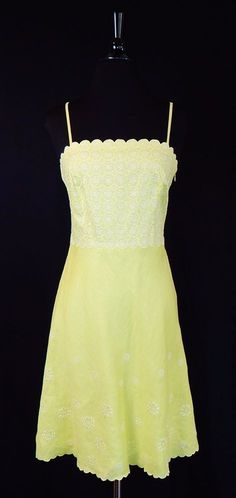 ANN TAYLOR $169 NWT 100% Linen Lime Green White Embroidered Summer Dress Size 0 #AnnTaylor #SlipDressSundress #Casual