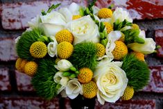 Green & Yellow Bouquet by seaofblossoms: Craspedia- Billy Balls, Freesia, Green Dianthus Balls, White Garden Rose. #Flowers #Green_and_Yellow