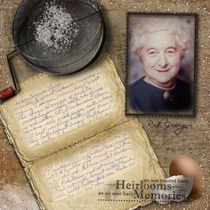 Great heritage scrapbook idea - love the use of original family recipie and all the digital details like the flour sifter and border Heritage Scrapbook Pages, Vintage Scrapbook, Scrapbook Page Layouts, Family Recipe Book, Recipe Books, Family Recipes, Heritage Recipe, Etiquette Vintage, Family History Book