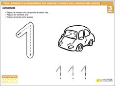 Actividades escolares de matemáticas. El número uno