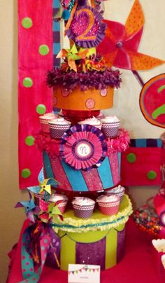 "Must make for the girls party!  cardboard boxes from Joanns, paint and decorate, candlesticks and plates from dollar store to make the ""cake stand"""