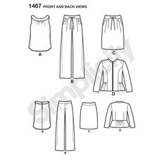 make a statement with these sew stylish outfits. sleeveless top has keyhole and   buttons on the back of the neck. pull on pants and skirt have side pockets. shoulder pads in the peplum jacket are   optional.