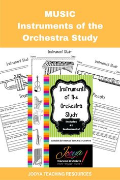 Music Instruments of the Orchestra Study from Jooya Teaching Resources. Increase learning and engagement with these instrument study pages. Students can research the instrument chosen for study and will be sure to learn something along the way. Great for