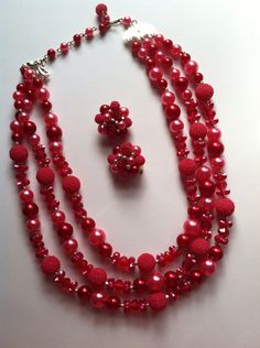 Vintage 1960s Magenta and Gold Beaded Earring and Necklace Set by LealynnOfScranton, $20.00