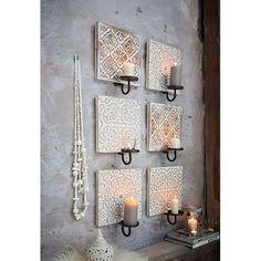 Wandteelichthalter Version 3, Florales Muster, Balinesischer Stil, Tannenholz & Metall Vorderansicht