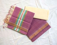 Mangalagiri Handloom Light Purple Color Cotton Dress material