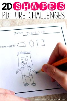 Kids love this shapes activity! Students are challenged to draw pictures that incorporate or 4 specific shapes. A no-prep math center or great for math journals! Shape Activities Kindergarten, 2d Shapes Activities, Kindergarten Drawing, Learning Shapes, Drawing Activities, Math Games, Shapes Worksheets, Preschool Learning, Sensory Activities