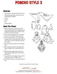 """My daughter is in Girl Guides and has accumulated so many badges that I was worried about fitting them all on her sash. My friend Michelle suggested I make a """"camping blanket"""" ~ basica… Sewing Projects For Kids, Sewing For Kids, Sewing Crafts, Sewing Ideas, Poncho Pattern Sewing, Sewing Patterns, Hooded Poncho Pattern, Poncho Patterns, Kids Patterns"""