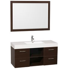 "48"" Stephanie Single Bath Vanity - espresso wood grain with ceramic white top and extra storage space with open shelf design."