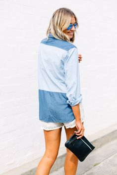 chambray, blue & white