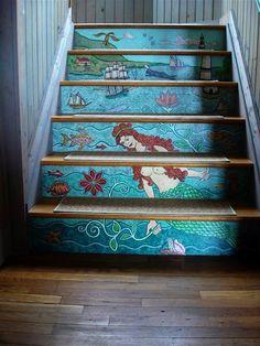 DIY - Mermaid Scene Painted Steps