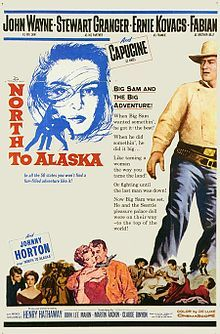 North to Alaska    1960 movie poster  Directed by	Henry Hathaway  John Wayne (uncredited)  Produced by	Henry Hathaway  John Lee Mahin  Written by	screenplay by  John Lee Mahin  Wendell Mayes  Martin Rackin  based on a play by  Ladislas Fodor  Starring	John Wayne  Stewart Granger  Capucine  Ernie Kovacs  Fabian  Music by	Lionel Newman  Cinematography	Leon Shamroy  Editing by	Dorothy Spencer  Distributed by	20th Century Fox  Release date(s)	November 13, 1960
