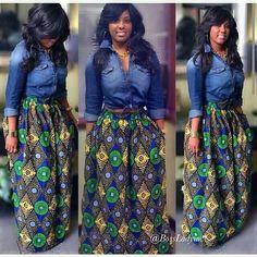 Denim shirt and African-print, long skirt Latest African Fashion, African… African Dresses For Women, African Attire, African Wear, African Women, African Style, African Print Skirt, African Outfits, African Inspired Fashion, African Print Fashion