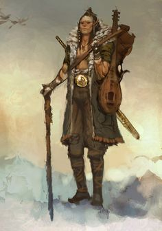 f Half Orc Bard Light Armor Cloak Lute Staff Sword backpack female Traveler lg High Fantasy, Fantasy Rpg, Fantasy Warrior, Medieval Fantasy, Fantasy Girl, Fantasy Concept Art, Fantasy Character Design, Character Concept, Character Art