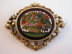 Antique micromosaic flower basket brooch, set in 14K gold frame. 19th c