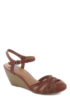 Don't Worry, Be Strappy Wedge in Earth, #ModCloth -- close-toed and vegan