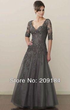 2013 hot! envío gratis apliques v cuello de tul gris una línea de cuerpo entero madre de la novia viste los vestidos en Madre de los Vestidos de Novia de Bodas y Eventos en AliExpress.com | Alibaba Group