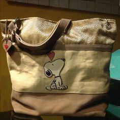 borsa stoffa e pelle con applicazioni in pelle Snoopy