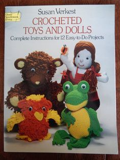 Crochet Patterns By Susan Verkest for Toys And Dolls/12 Easy to do Projects/mouse lamb owl frog bear lion elephant raccoon boy girl  decor