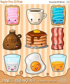 Kawaii Breakfast Designs Clipart - Eggs - Bacon - Coffee - Pancakes - Orange Juice - Milk - Syrup - Toaster Pastries - Food  --------------------------------------------  Included in this package:  - 1 ZIP file  - 9 images - All visible on sample page  - Transparent PNG images  - 300 DPI  - Approx. 2.5x2.5 Inches per image  --------------------------------------------  Some information:  These images were created by me and are for digital download. There will be no products shipped to your…