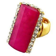 Fuschia rectangle stone stretch ring