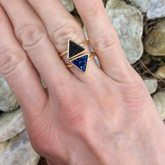 •••triangle druzy ring••• Triangle shaped Druzy ring.  14 k gold plated. Size 6 or 7. Available in blue, black, white, silver or gold. Please check sizing before ordering.  Price firm. Jewelry Rings