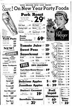 Vintage Kroger Ad, Vimco Spaghetti, Vermicelli, Curl Macaroni, Rotini, Egg Bows, Plain Dealer, Cleveland, OH, December 30, 1957, pg 20