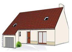 Modèle PC-43  Pavillon avec garage comprenant cuisine, séjour, hall, WC au rez-de-chaussée. 3 chambres, 1 palier, salle de bains à l'étage.  Surface Habitable : 94,66m²