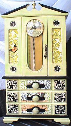 Vintage Wooden 2-door, 3-drawer Jewelry Cabinet