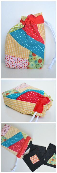 use your fabric scraps as gift wrap – click throught to the blog for a drawstring bag tutorial