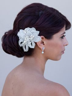 Beaded Flower Comb by Hair Comes the Bride  www.HairComestheBride.com