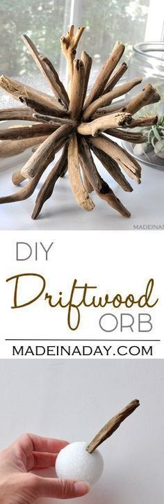 DIY Driftwood Orb Home Decor,Learn to make this unique piece with a coastal home decor theme. driftwood crafts, home decor, wood orb via /madeinaday/ #CheapHomeDecor