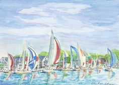 """The Finish Line"" - Landmark Renditions. Click for a print. #landmarkrenditions #christinechapa #downtown #annapolis #sail #nautical #local #watercolor #artist"