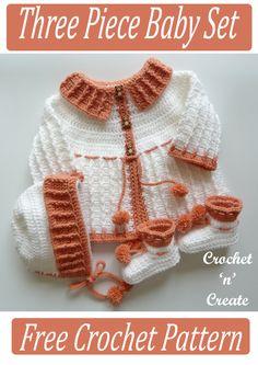 Crochet this adorable baby crochet pattern for coat, bonnet Crochet Girls Dress Pattern, Baby Girl Crochet, Crochet Baby Clothes, Crochet Patterns, Sewing Patterns, Crochet Fall, Crochet For Kids, Free Crochet, Knit Crochet