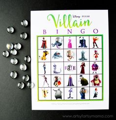 Free Printable Disney Villain Bingo at artsyfartsymama.com