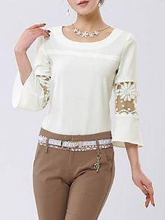 Mulheres Blusa Casual Moda de Rua / Punk & Góticas Todas as Estações,Sólido Branco Poliéster Decote Redondo Manga ¾ Fina