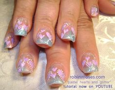 valentine pink and purple glitter hearts - Nail Art Gallery