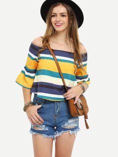 Multicolor Striped Off The Shoulder Half Sleeve Blouse