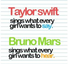 Taylor Swift sings what every girl wants to SAY   Bruno Mars sings what every girl wants to HEAR   #music #quote